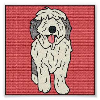 Textured Old English Sheepdog Cartoon Photo Print