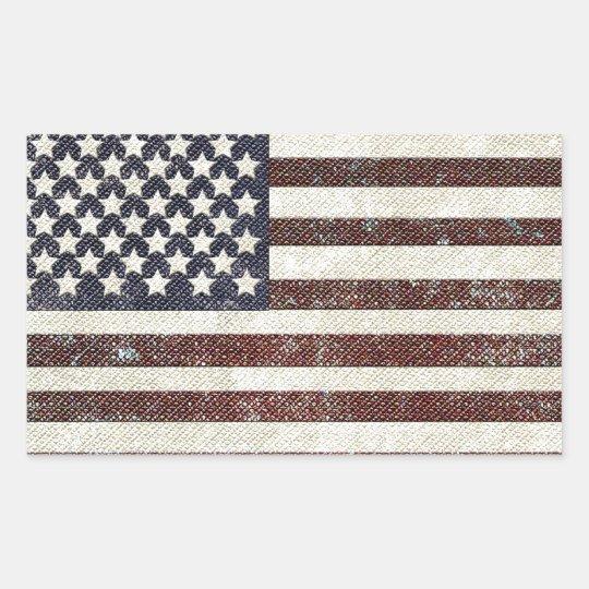 Textured old style American flag Rectangular Sticker