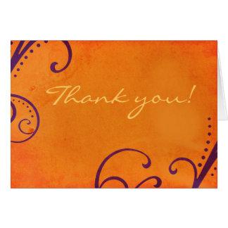Textured Orange with Plum Swirls Thank You Card