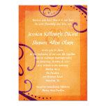 Textured Orange with Plum Swirls Wedding Invite