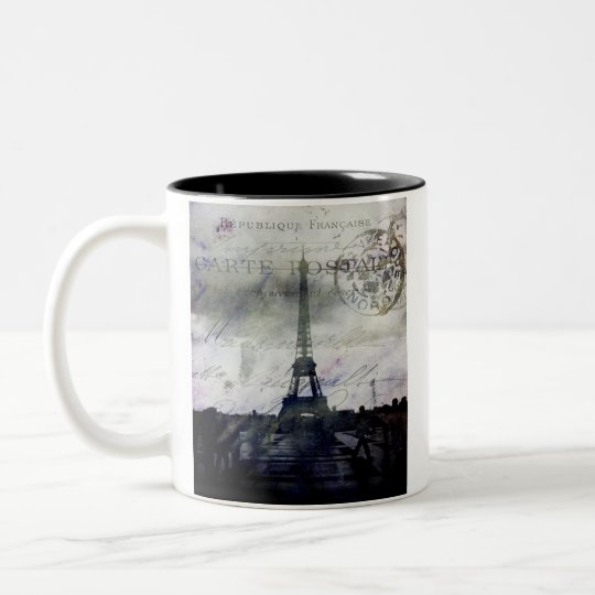 Textured Paris in Lavender Two-Tone Coffee Mug