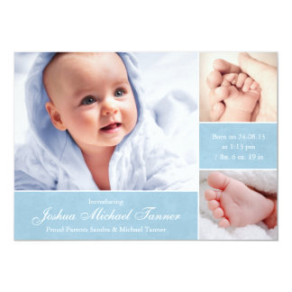 "Textured Photo Boxes Baby Announcement - Boy 5"" X 7"" Invitation Card"