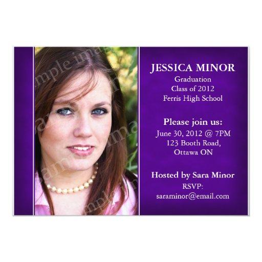 Textured Photo Graduation Invitation - Purple