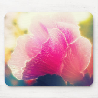 Textured Pink Hibiscus Flower Mouse Pad