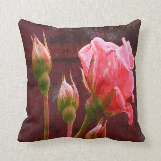Textured Pink Rose and Bud Throw Pillow