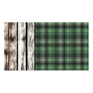 Textured Plaid Pattern Green Business Card
