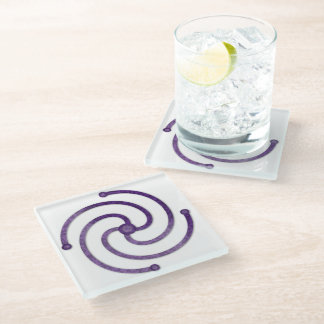 "Textured Purple 4 Armed Spiral for the ""Center"" 1 Glass Coaster"