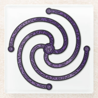 "Textured Purple 4 Armed Spiral for the ""Center"" 2 Glass Coaster"