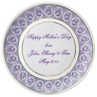 Textured Purple Iris Mother's Day Porcelain Plate