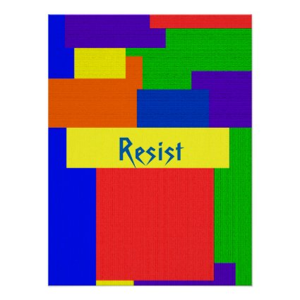 Textured Quilt Resist Rainbow Patchwork Poster