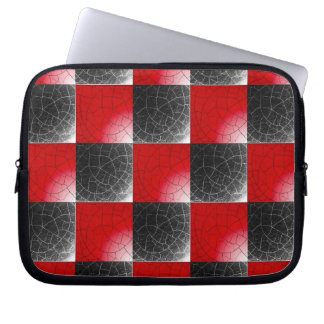 Textured red and black checkerboard laptop computer sleeves