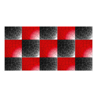 Textured red and black checkerboard photo card