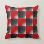 Textured red and black checkerboard throw pillow