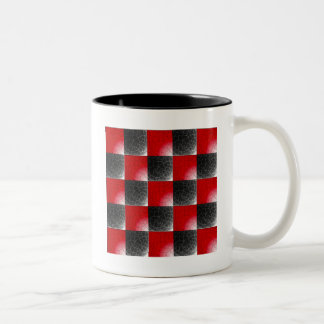 Textured red and black checkerboard Two-Tone coffee mug