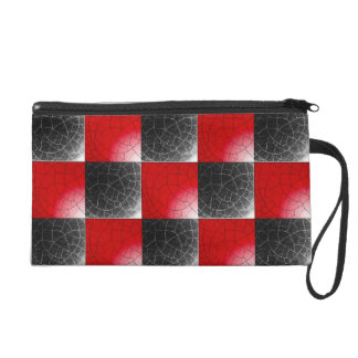 Textured red and black checkerboard wristlet