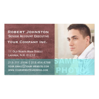 Textured Red and Teal Corporate Photo Template Business Card