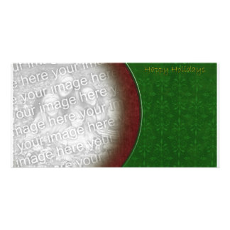 Textured Red & Green Holiday Template Photo Card Template
