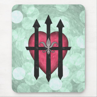 Textured red guarded heart on pale green mouse pad