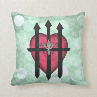 Textured red guarded heart on pale green throw pillows