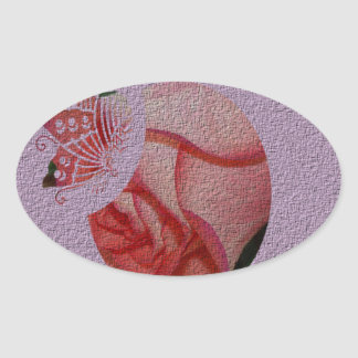 Textured Rose Bud Oval Sticker