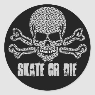 textured skull and crossbones classic round sticker