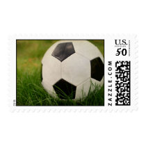 Textured Soccer Ball in the Grass Postage