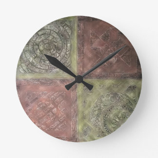 Textured Squares Round Wall Clocks
