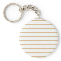 Textured Stripes Beige White  Rough Lines Pattern Keychain