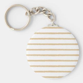 Textured Stripes Beige White  Rough Lines Pattern Keychain