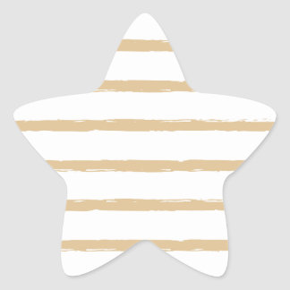 Textured Stripes Beige White  Rough Lines Pattern Star Sticker