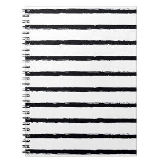 Textured Stripes Black White Rough Lines Pattern Notebook