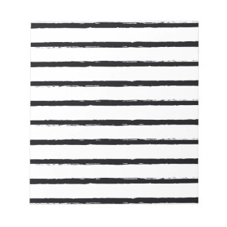 Textured Stripes Black White Rough Lines Pattern Notepad