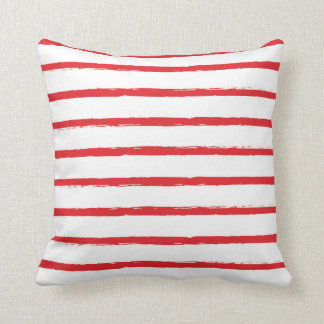 Textured Stripes Lines Red Nautical Modern Throw Pillow