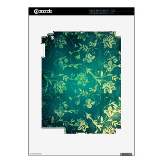 Textured Teal and yellow floral print. Decal For iPad 2