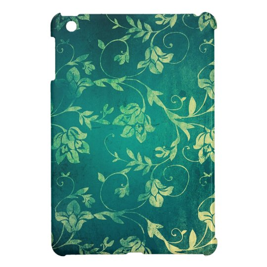 Textured Teal and yellow floral print. iPad Mini Cover