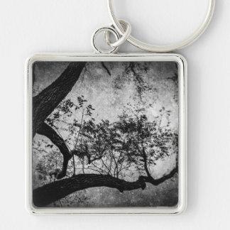 Textured Tree (B&W) Keychain