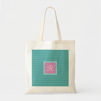 Textured Turquoise and Pink Monogram (Letter R) Tote Bag