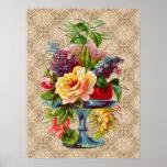 Textured vintage Floral Display Poster