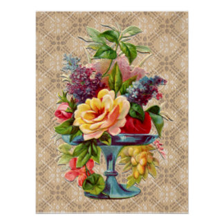 Textured vintage Floral Display Poster