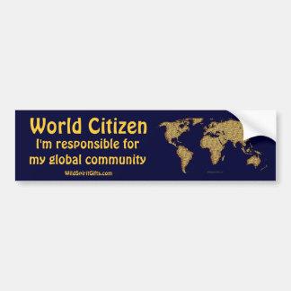 Textured WORLD MAP Car Bumper Sticker