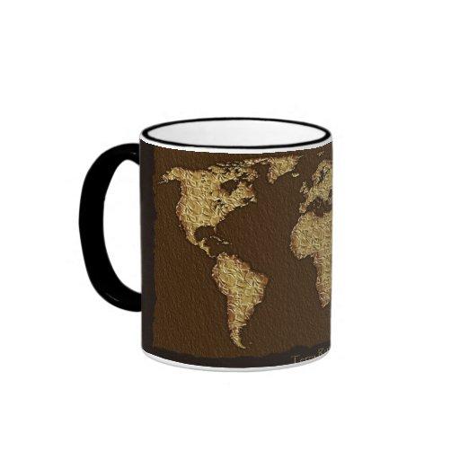 Textured WORLD MAP Coffee Mugs