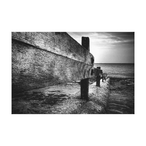 Textures Of A Broken Groyne, black and white Canvas Print