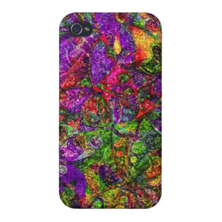 Texturized multicolored floral background case for iPhone 4