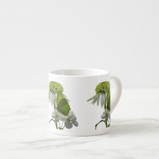 Texturized White & Green Floral Espresso Mug 6 Oz Ceramic Espresso Cup
