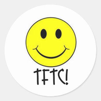 TFTC con smiley Pegatina Redonda
