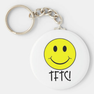 TFTC with Smiley Basic Round Button Keychain