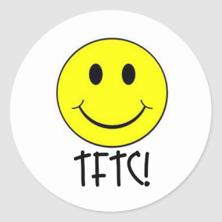 TFTC with Smiley Classic Round Sticker