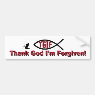 TGIF agradecen a dios que me perdonan inspirado po Pegatina Para Auto