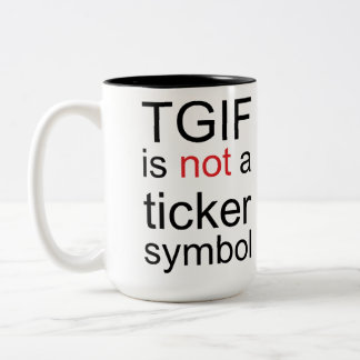 TGIF by Leslie Peppers Two-Tone Coffee Mug