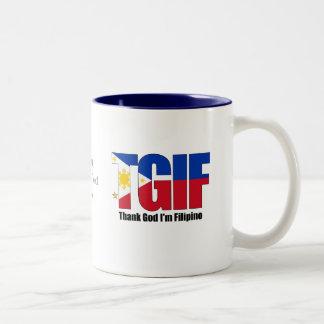TGIF Filipino with Philippine Flag Two-Tone Coffee Mug